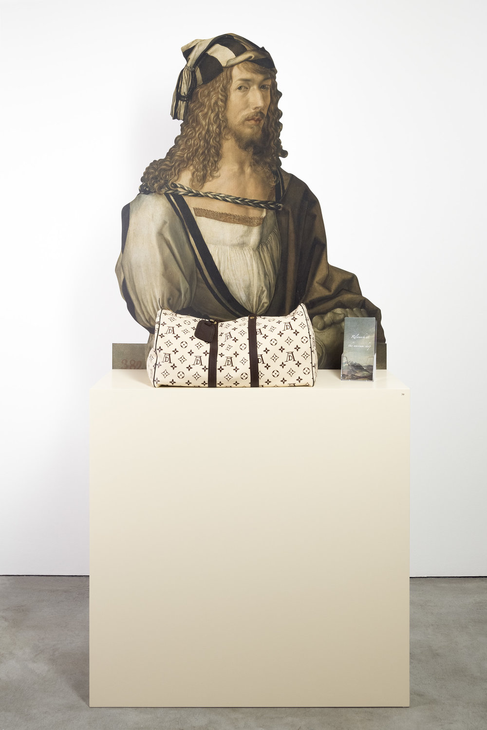 Relaunch at the Museumshop , 2014  aluminium stand, bag, flyer  223 × 100 × 40 cm
