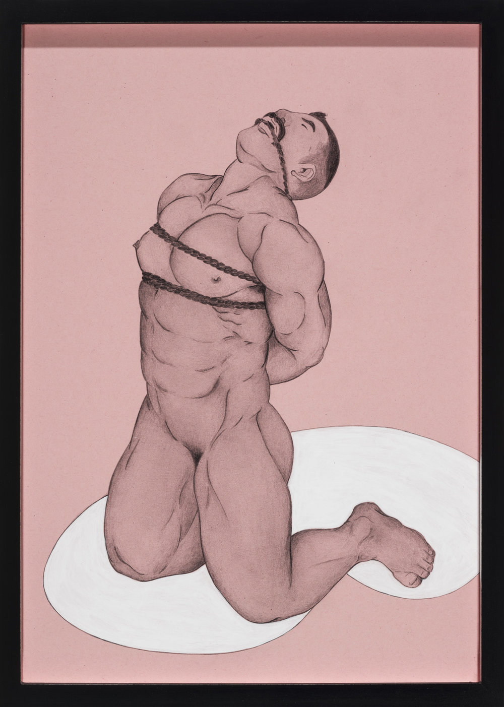 Sakura no Ma Ni kyosci (after Gengoro Fagane) , 2014  Pencil and acrylic on pink paper  31 × 22 cm