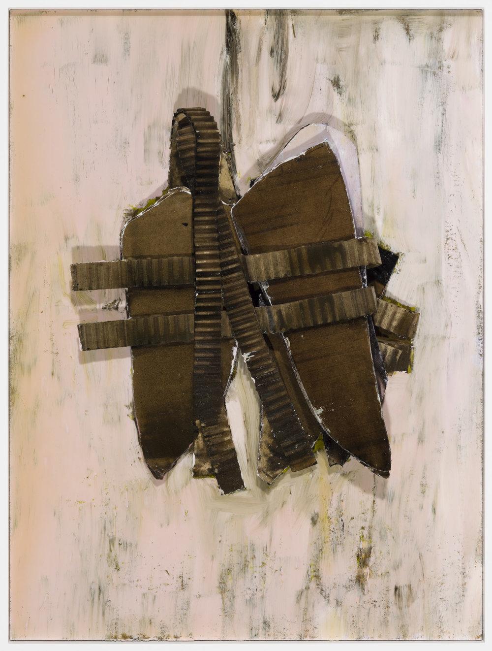 Schweres Gepäck , 2014  acrylic, oil, lacquer, cardboard on cardboard  49,4 × 37,3 × 6 cm