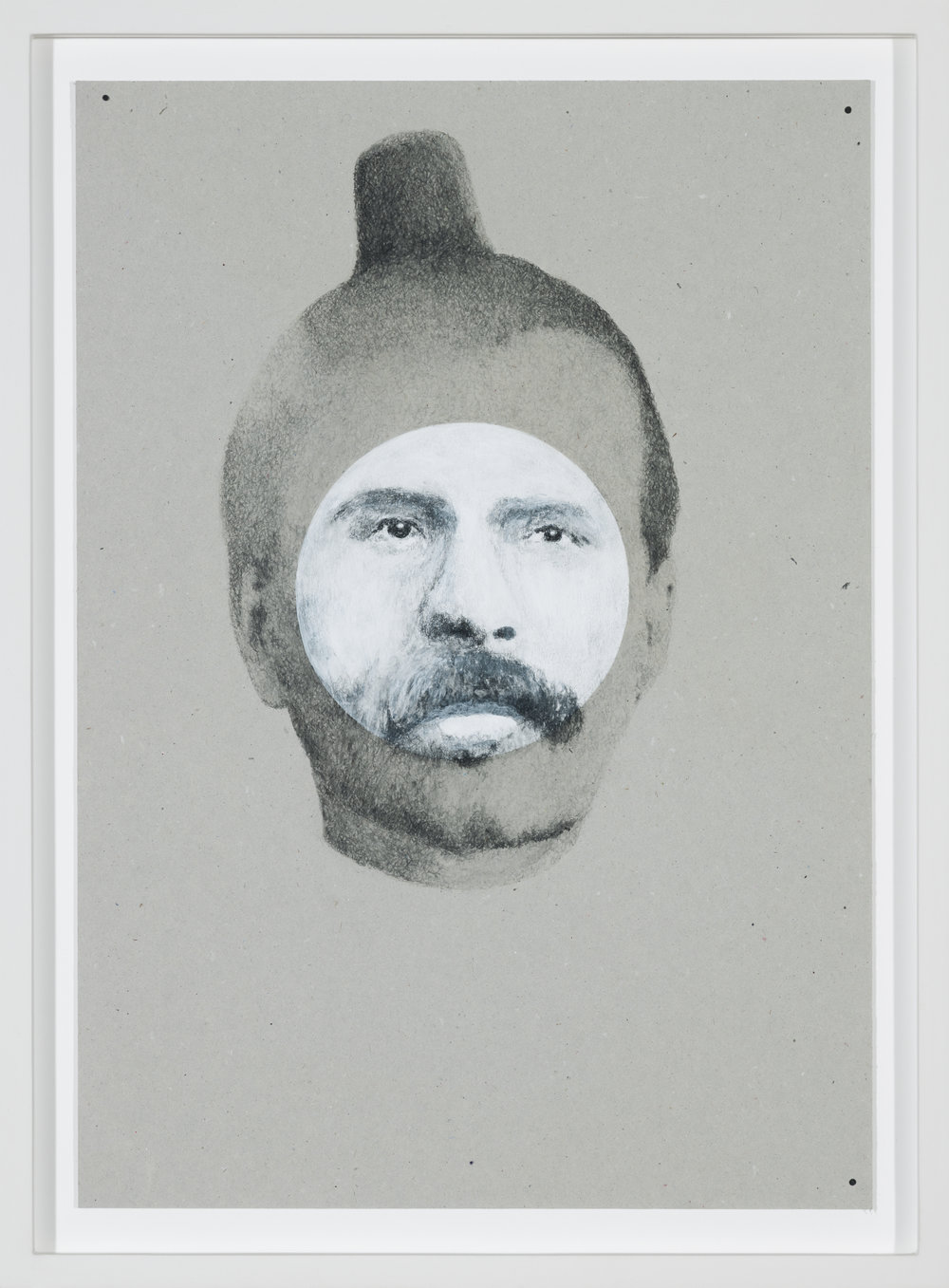 Nietzsche 2313 , 2015  pencil and acrylic on grey cardboard  41 × 29 cm (16 ⅛ × 11 ⅜ inches)  48 × 35,5 × 3 cm