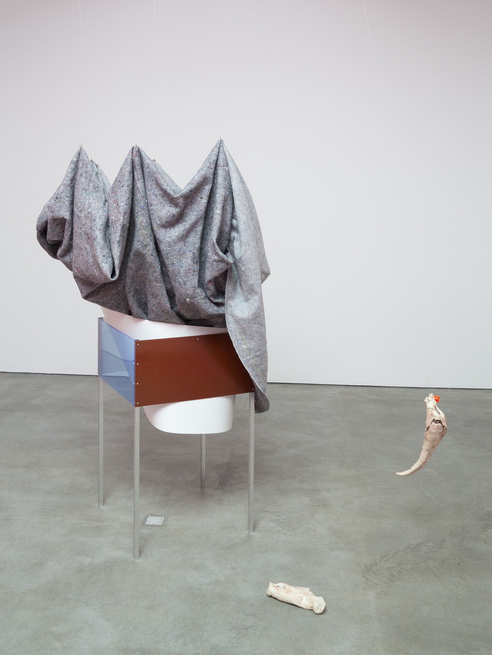 Gleichgewicht , 2014  Aluminum, steel, sound, lacquer, furniture blankets, fishing line, fish hook  Dimensions variable