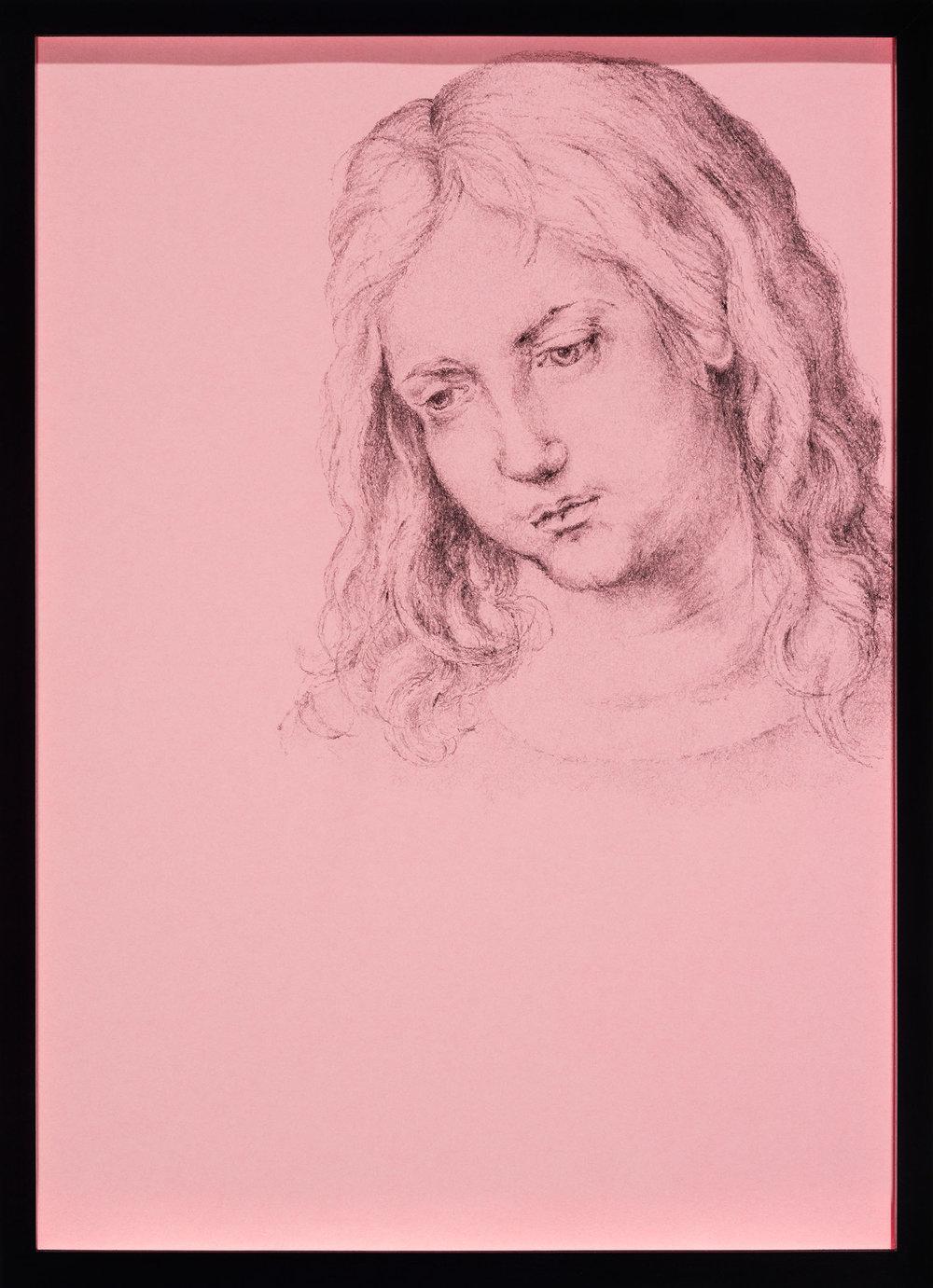 Der Kopf des zwölfjährigen Jesus, A. D. in anderer Zeichentechnik , 2014  pencil on pink paper  43,5 × 31,5 cm
