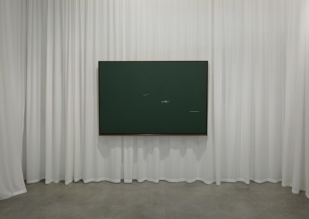 3 schöne Fehler (Leere & Lehre) , 2013  White acrylic and green chalkboard paint on canvas, curtain  184,5 × 123 × 9 cm