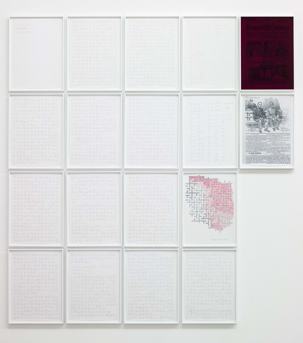 Moosbrugger tanzt (Kap. 14) , 2013, 18 part work  pencil, red pen behind colored plexiglass  each: 32 × 23,5 cm