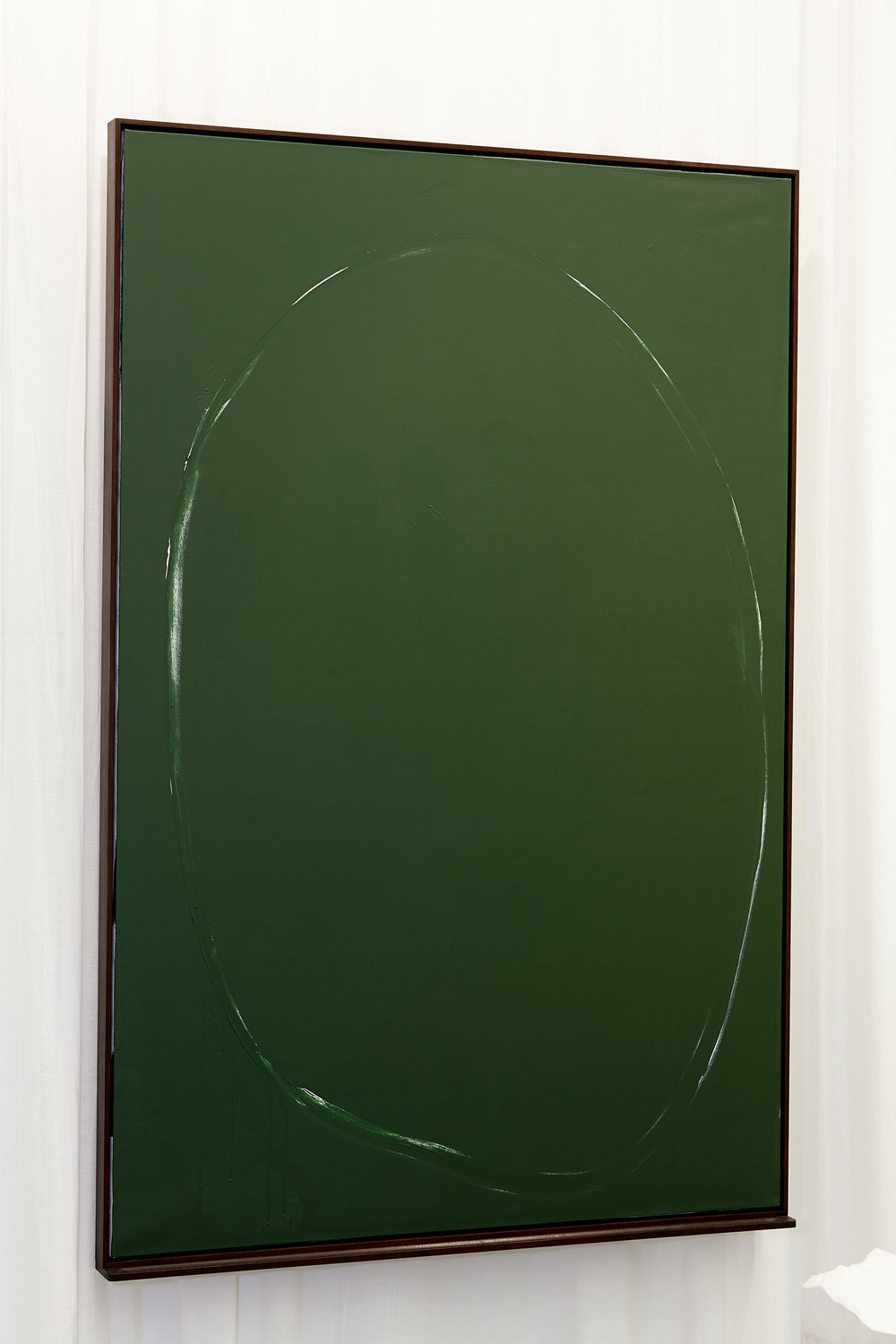 Üben (Leere & Lehre) , 2013  White acrylic and green chalkboard paint, curtain  184,5 × 123 × 9 cm