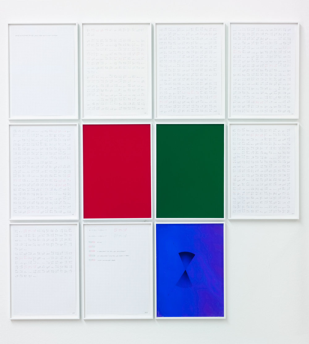 "Wenn es Wirklichkeitssinn gibt, muß es auch Möglichkeitsinn geben (Kap. 4) , 2013  pencil on squared paper, red and green pen behind colored plexiglass ""red green Radon""  each: 32 × 23,5 cm"