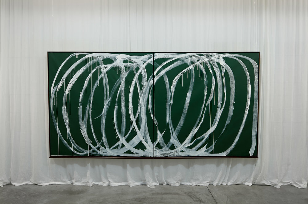Ein fast perfektes Bild (Leere & Lehre) , 2013  White acrylic and green chalkboard paint on canvas, curtain  184,5 × 364,5 × 9 cm