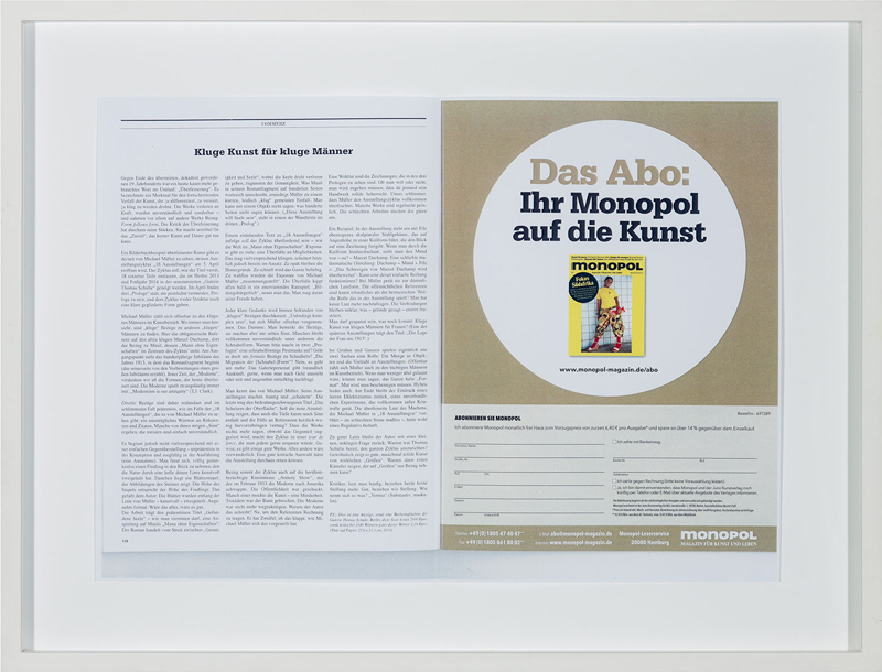 Eine nicht geschaltete Anzeige , 2013  color photocopy, ink on paper  41 × 53,6 cm