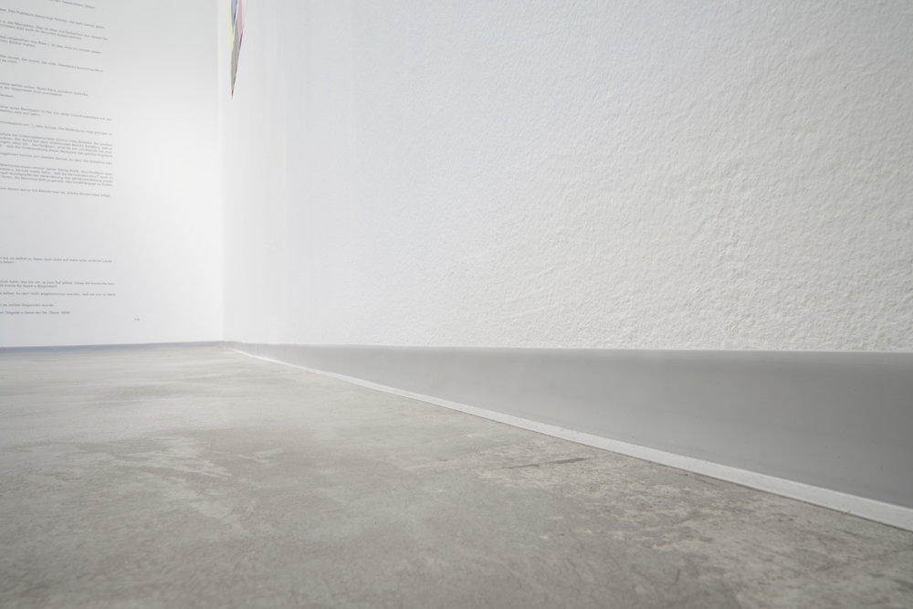 Einfassung , 2013  grey plastic skirting  Dimensions variable