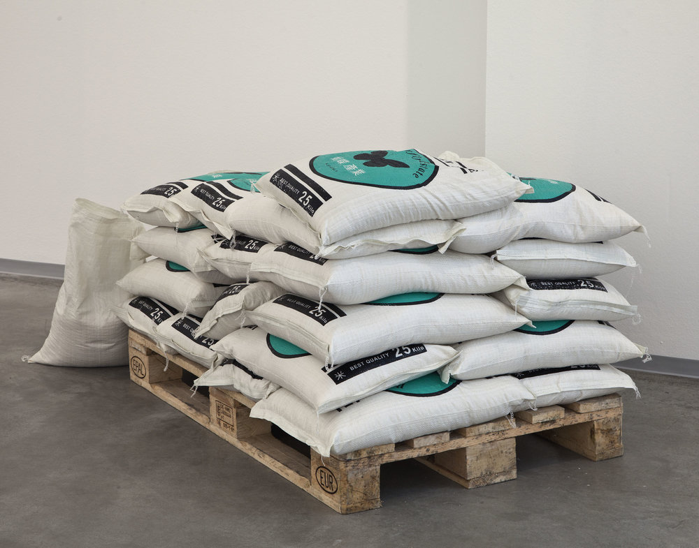 Reale Wirtschaftsgüter , 2013  rice bags on euro pallet  Dimensions variable