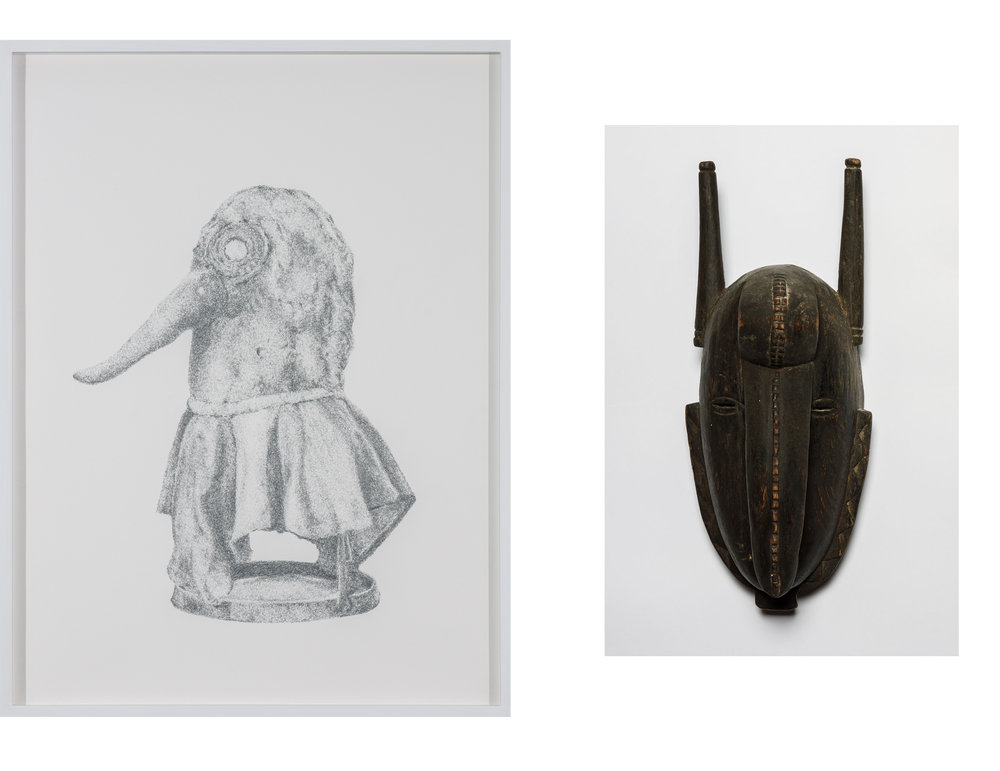 Pestmaske und Jose Com #04, Senugwe Masic. Ivory Coast , 2013  Pencil on paper  Drawing: 49 × 37 cm (19 ¼ × 14 ⅝ inches)  Mask: 32,3 × 14 × 13 cm