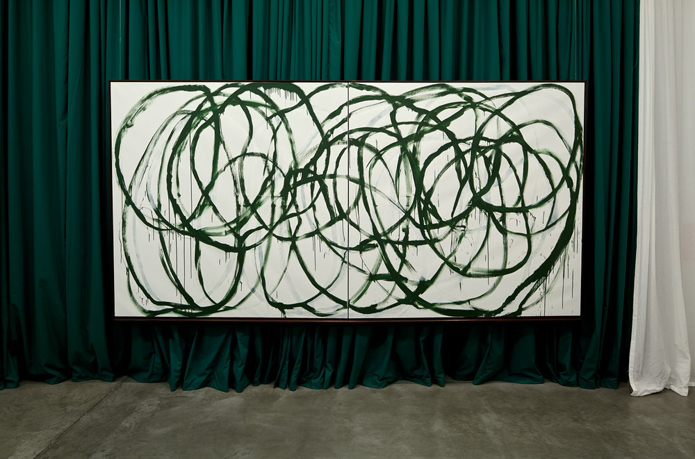 Große Korrektur (Leere & Lehre) , 2013  White acrylic and green chalkboard paint on canvas, curtain  184,5 × 364,5 × 9 cm