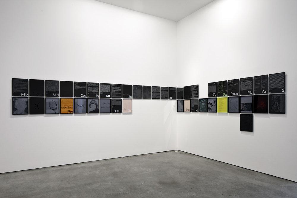 Index der Willkür, unvollendet , 2010/2011  153 parts work, screen print on slate, pencil, gouache, acrylic on paper, colored plexiglass, linen, ink, adhesive foil  152 parts: 35 × 28 cm  1 part: 36 × 36 cm