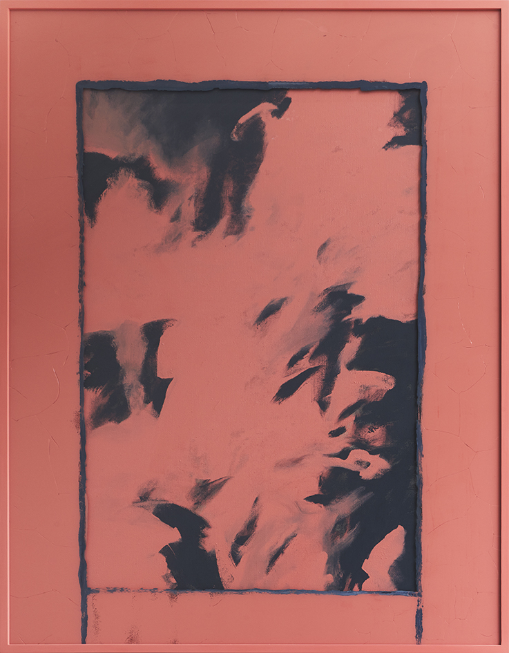 1987 (Bildverlust 22,2%) , 2017  acrylic on linen and glass     183 × 143,5 × 5,5 cm