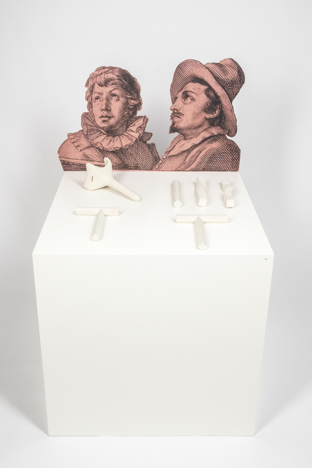 Beobachter , 2014  digital print on aluminum, clay elements, pedestal  Dimensions variable