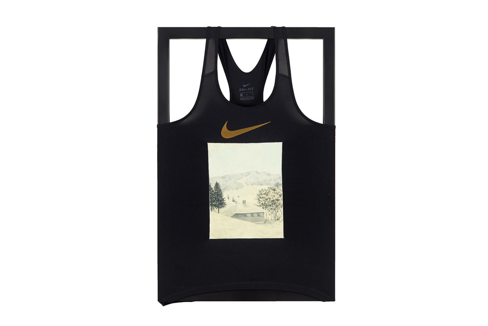 Tanktop , 2017  oil on Nike Dry-Fit tank top and steel  71 x 46 x 3,5 cm