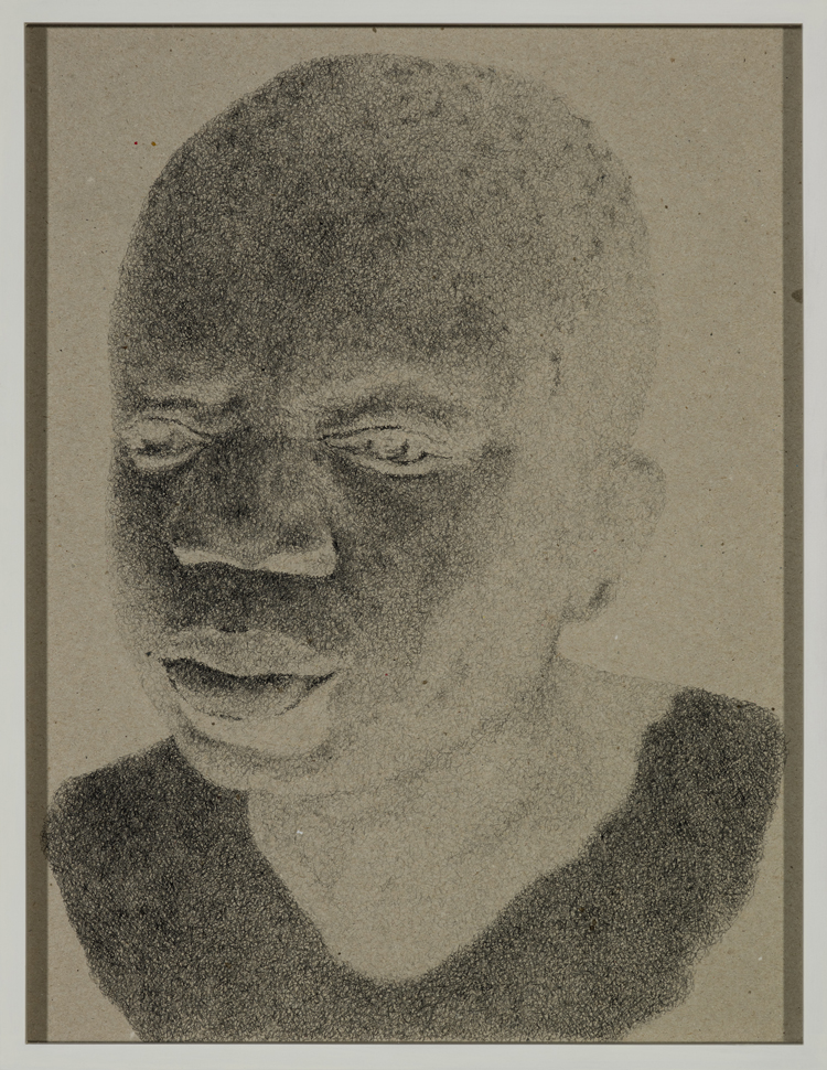 Schweigen (Ota Benga (ca. 1881/84 - 20. März 1916)), 2013  Pencil on grey cardboard  36,1 × 28 cm