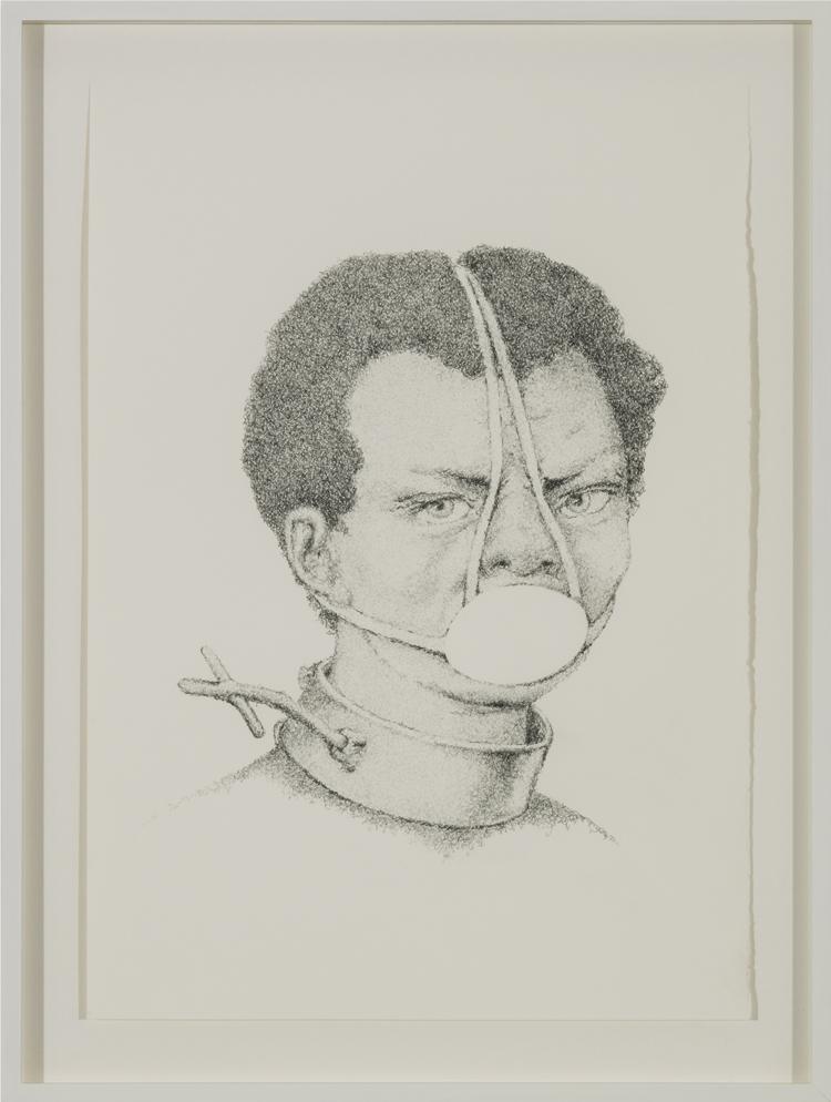 Schweigen (Unbekannte Sklavin) , 2013  Pencil, eraser on paper  49 × 37 cm