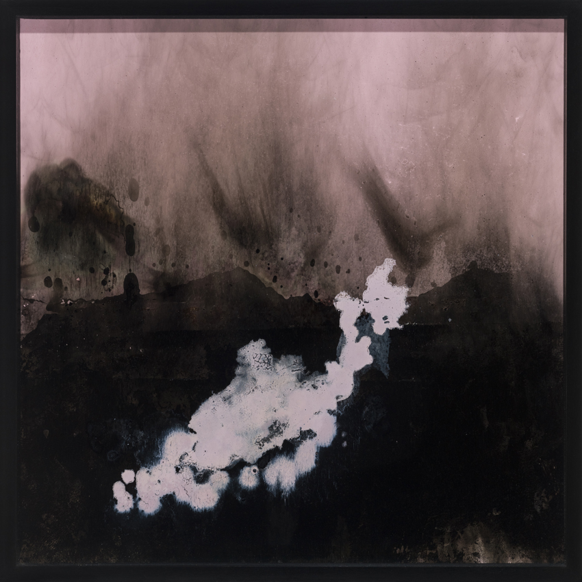 Fantastische Landschaft , 2014  acrylic, lacquer, oil paint, soot on wood  41,8 × 41,8 cm