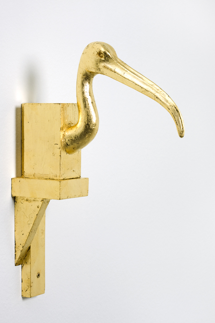 Thot , 2013  plaster, wood and gold  41 × 7,8 × 28,5 cm