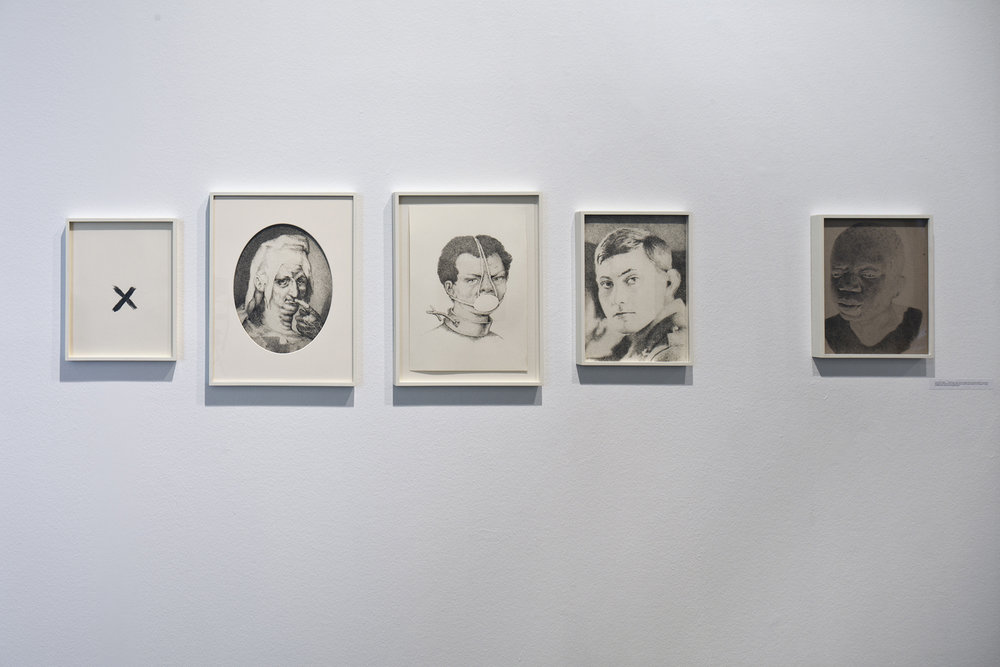 From left to right:   Schweigen (X) , 2013, Pencil on paper, 36,2 × 28,1 cm   Schweigen (Harpocrates, Philosophus, Silentii Deus) , 2013, Pencil on paper, 49 × 37 cm   Schweigen (Unbekannte Sklavin) , 2013, Pencil, eraser on paper,49 × 37 cm   Schweigen (George Mallory (18. Juni 1886 - 8. Juni 1924)) , 2013, Pencil on paper, 39 × 28 cm   Schweigen (Ota Benga (ca. 1881/84 - 20. März 1916)) , 2013, Pencil on grey cardboard, 36,1 × 28 cm