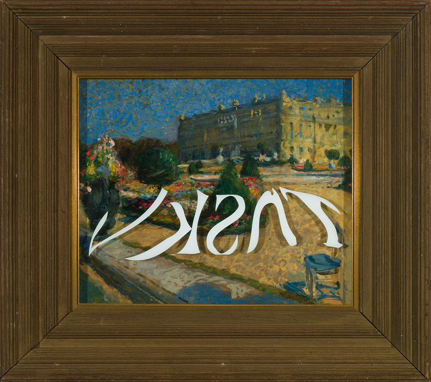 Befragung , 1912 & 2013  oil on canvas, acrylic on glass and historical frame  58,5 × 64,5 cm