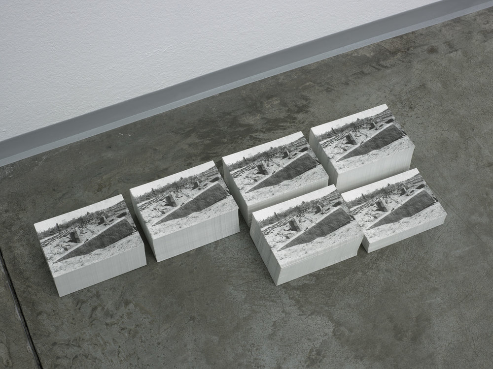 Großer Stein (klein) , 2013  Heliopolis (Balabak), postcards, ink on paper  Dimensions variable
