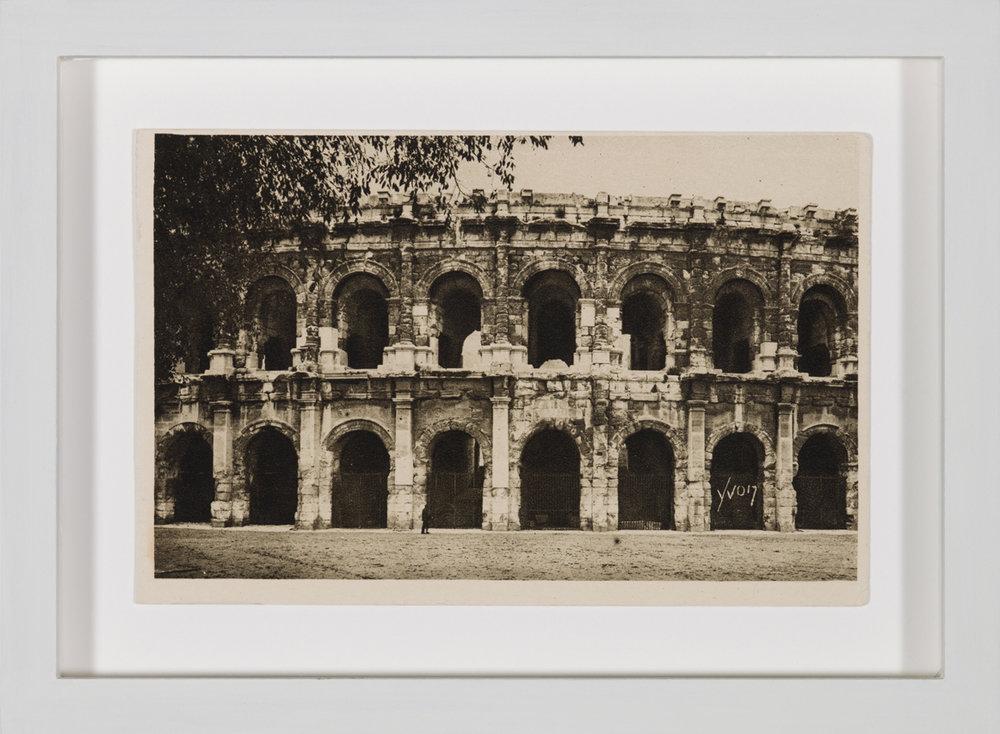 Panem et circenses , 2013  Amphitheatrum Novum, postcard 1913  13,7 × 18,7 cm