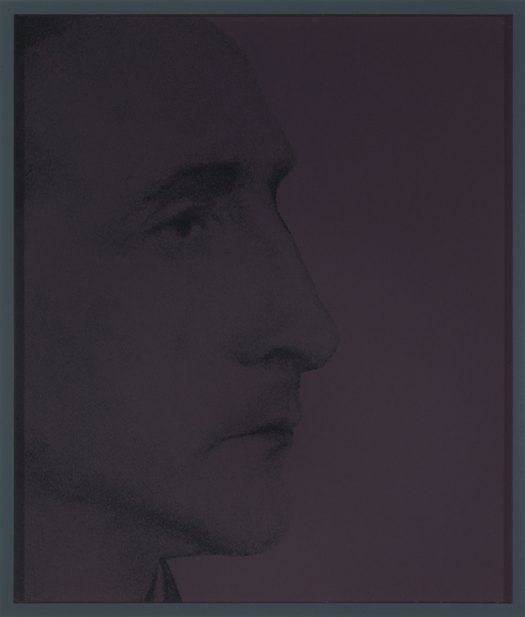Marcel Duchamp (nach einer Photographie von Man Ray 1930) , 2013  pencil on colored paper  36 × 30,9 cm