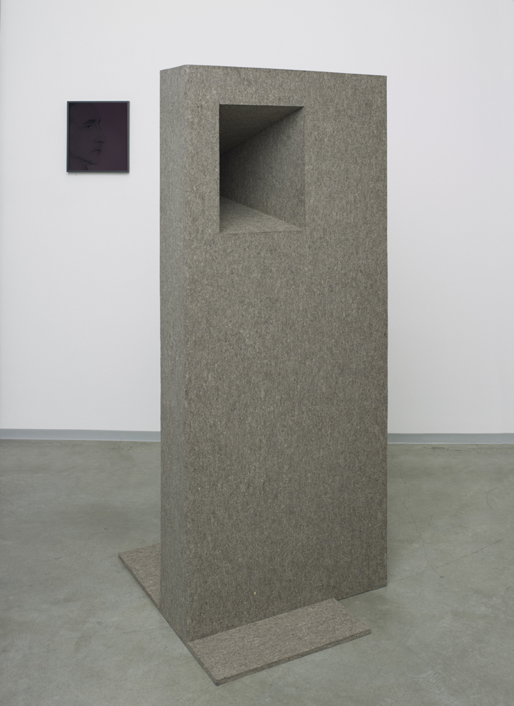 Leerform , 2013  steel and felt  172 × 72 × 81 cm
