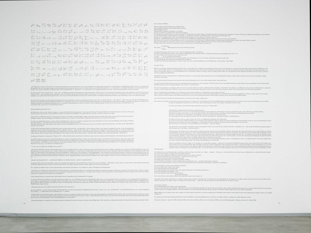 Vorworte , 2013  wall captions, adhesive foil  395 × 505 cm