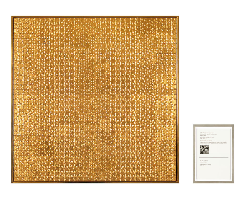 Ranking (The Hunt), 2017  2 part work, 24 karat gold leaf, grey cardboard on Dibond, digital print  Part 1: 66 × 66 × 4 cm  Part 2: 23,2 × 16 cm