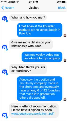 US immigration attorney chatbot - Visabot.