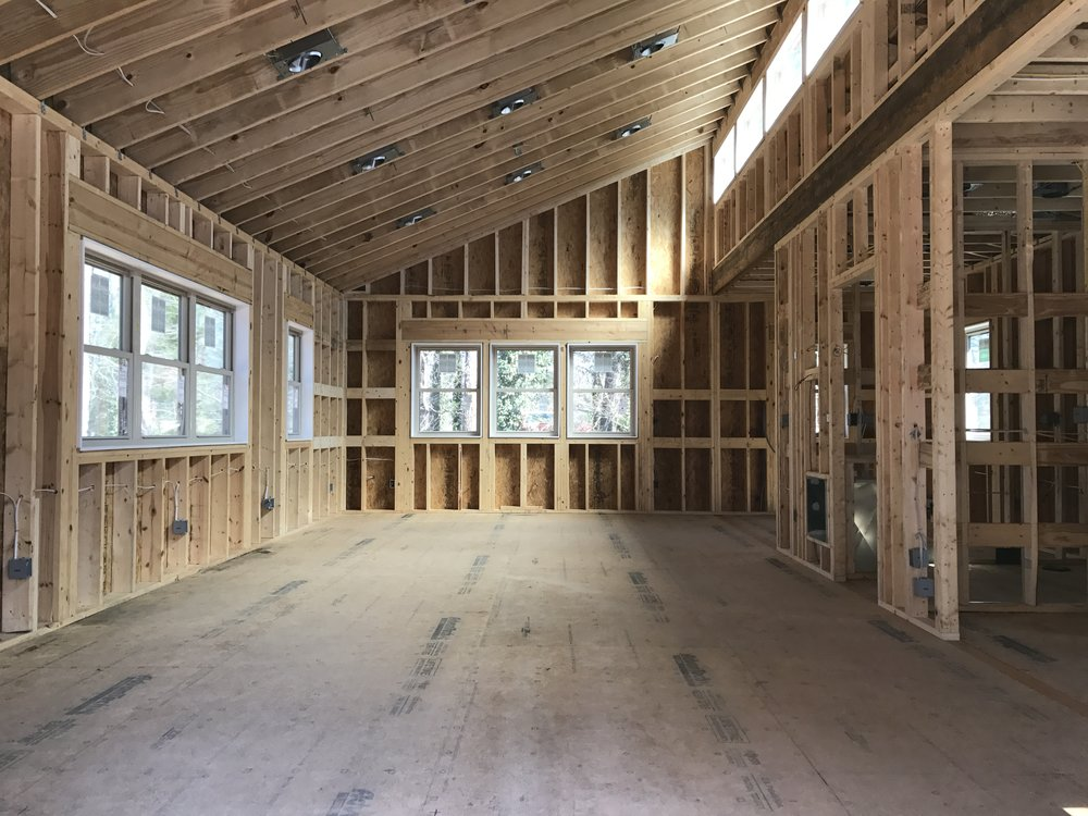 Framed, plumbing, electricity and HVAC is done and ready for insulation.