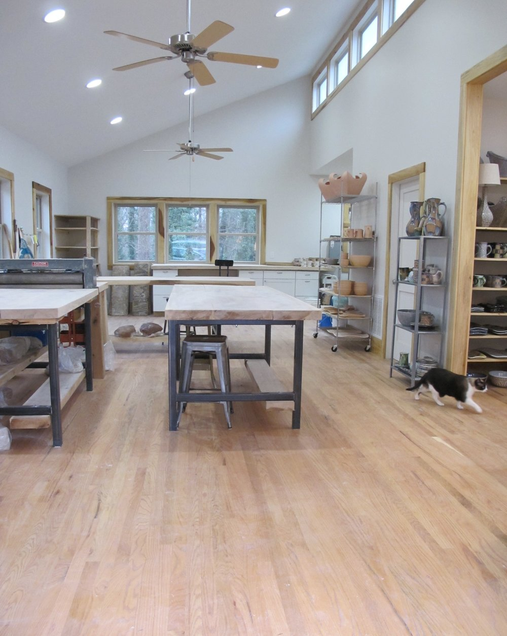 All accent wood, including the floors, tables, shelves and trim were made using the trees from our property.