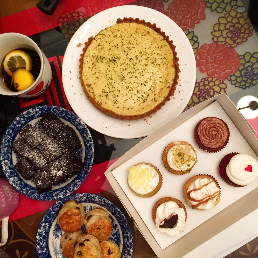 The desserts for the steamboat party- cupcakes from Fluffbakery, scones, cinnamon brownies that I baked and key lime tart by Mizah.