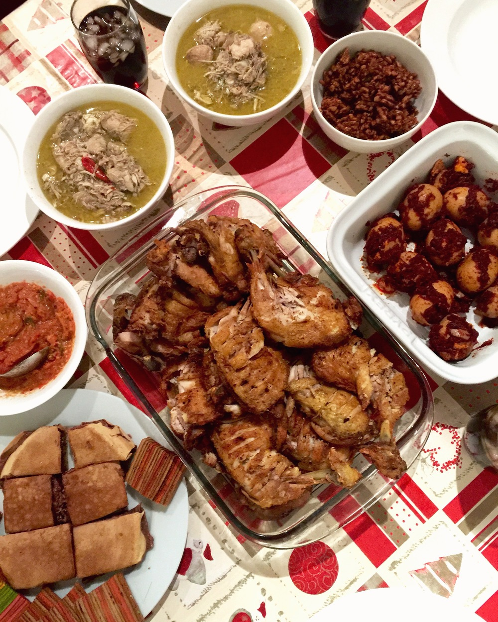 Opor Ayam, Ayam Penyet with Sambal, Martabak Manis all prepared by Axel, and Sambal Tumis Telur by Tengku (Not in picture: mashed potatoes with gravy that looked like bubur kacang by Lili, and salad pasal nak step healthy by Maryam and Firdaus)