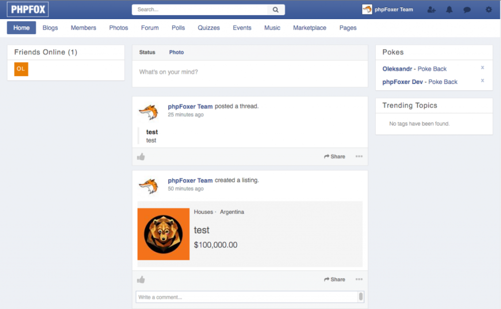 Facebook style theme — phpFoxer
