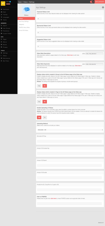 phpFox Videos app's settings