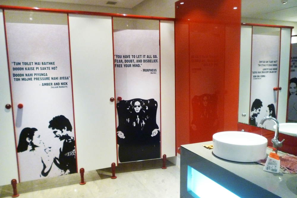 Really cool public bathrooms in a movie theatre in Panjim, Goa