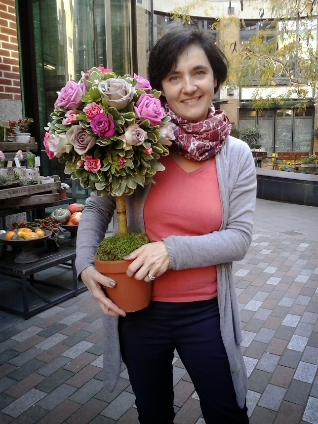 Me and my first Topiary tree at The Covent Garden Academy of Flowers in London.
