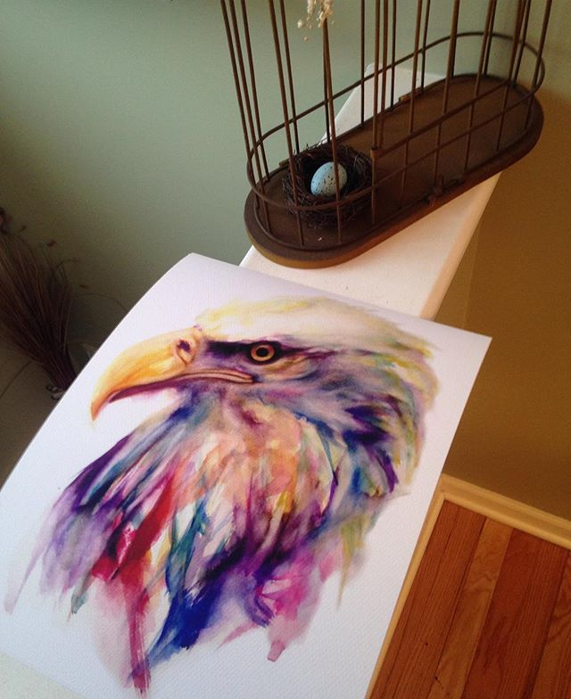 The eagle has landed! Prints up for grabs in my etsy store. I appreciate any and all support. #art #eagle #bird #print #painting #artwork #sale #nature #wildlife #watercolor
