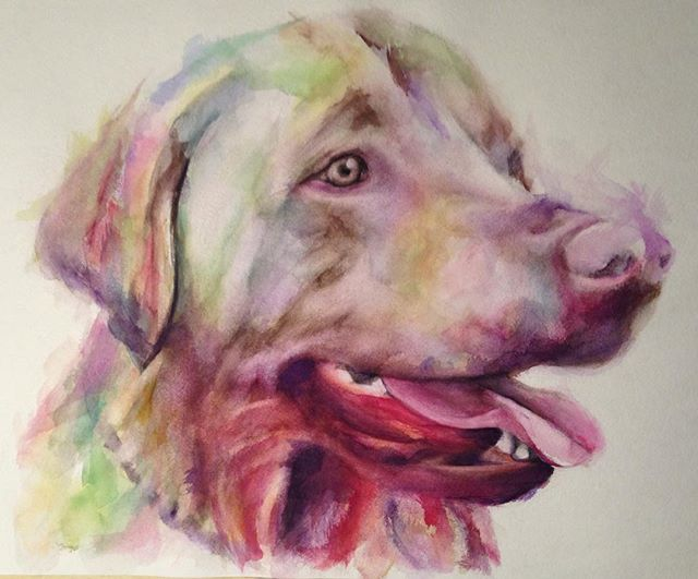 #watercolor #painting #art #artwork #dog #yellow #lab #portrait #animal #colorful #abstract