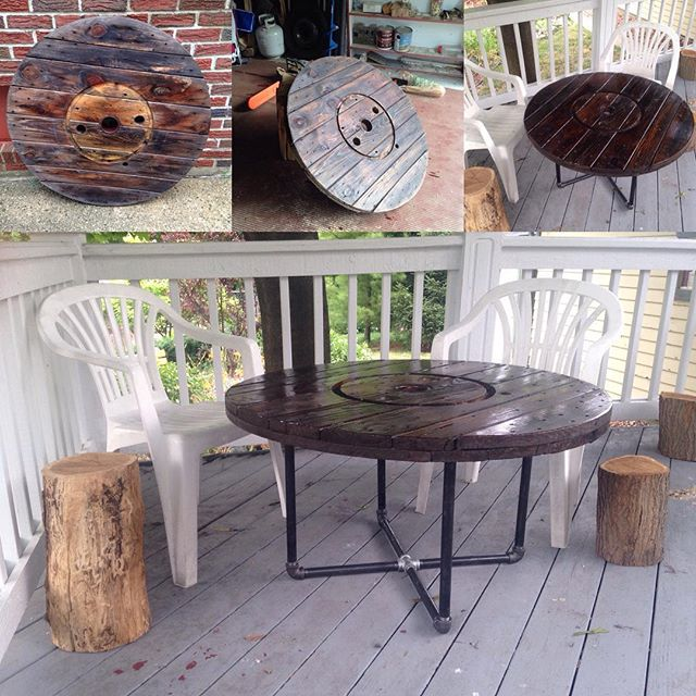 Built a cable spool table with iron pipe legs for the patio! #diy #furniture #table #wood #iron #pipe