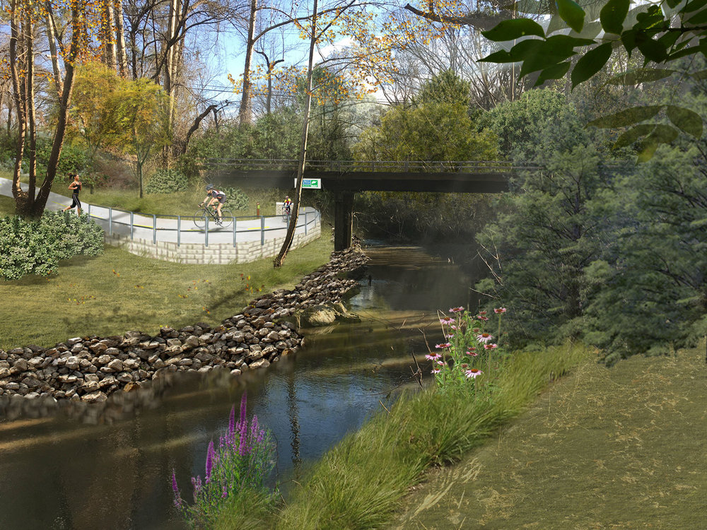 Proposed retaining structure to support trail across James Jackson Pkwy