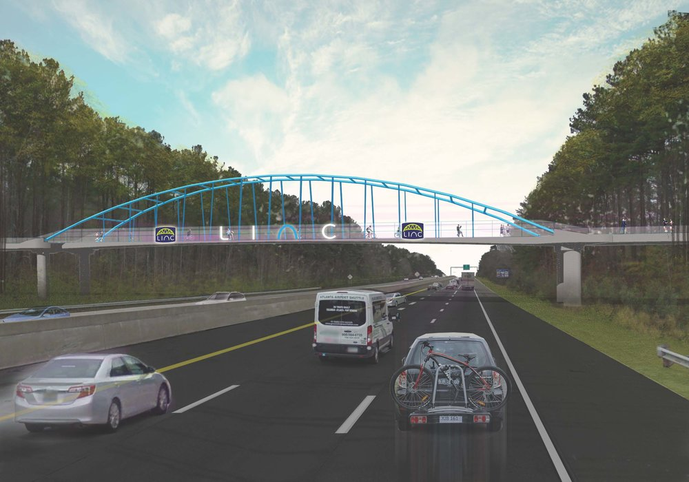 Proposed plan for the LINC pedestrian bridge above I-85 during the day
