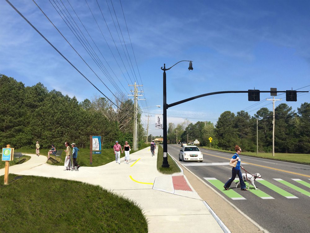 Proposed plan for the trail connector next to the Gordon County Hospital