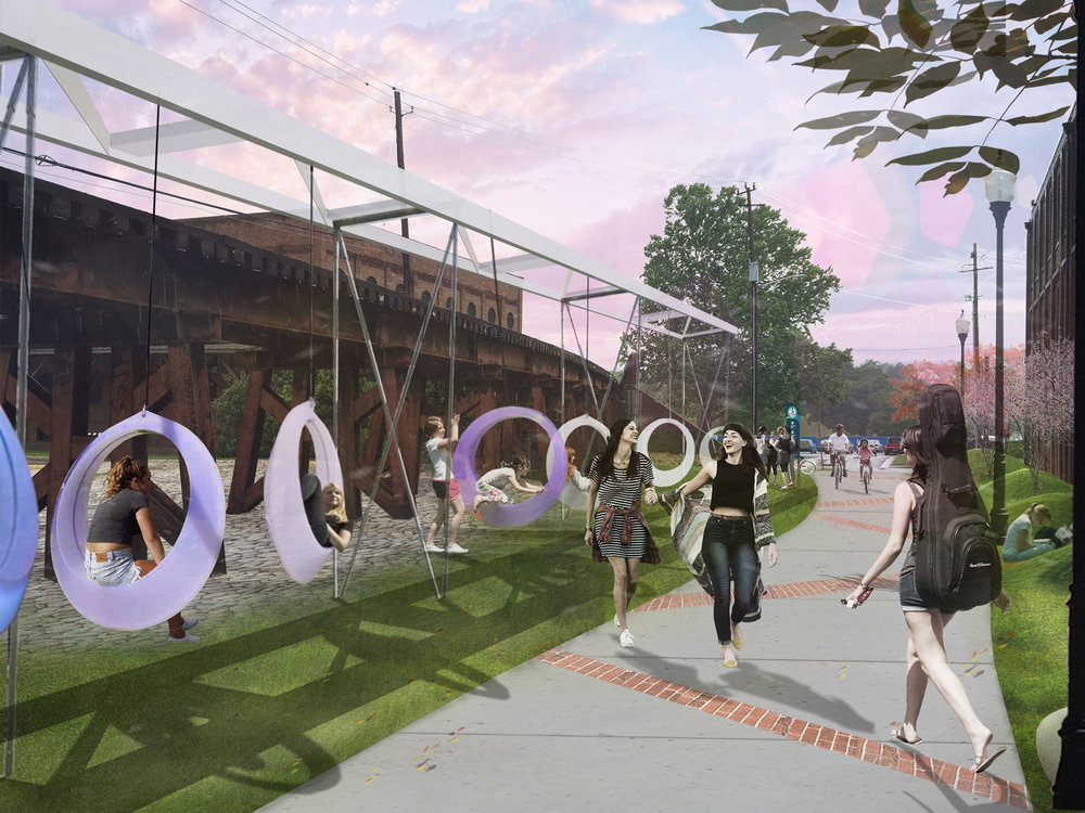illustration of 9th street plaza as a community space