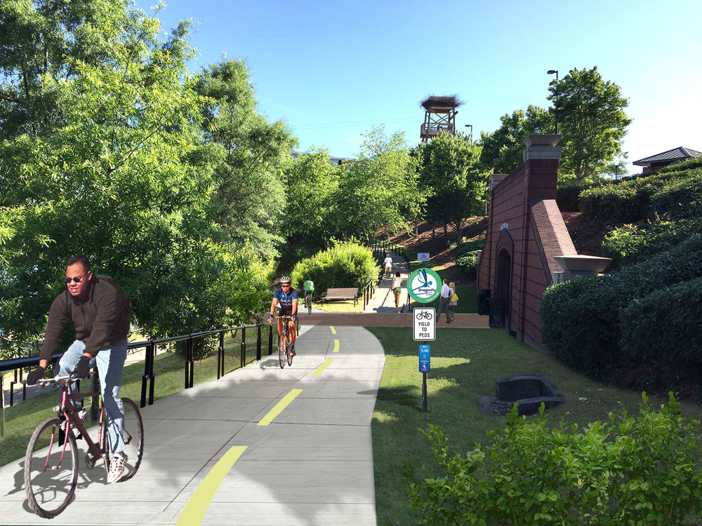 the master plan proposed to retrofit the existing switchback ramp as a multi-use connection.