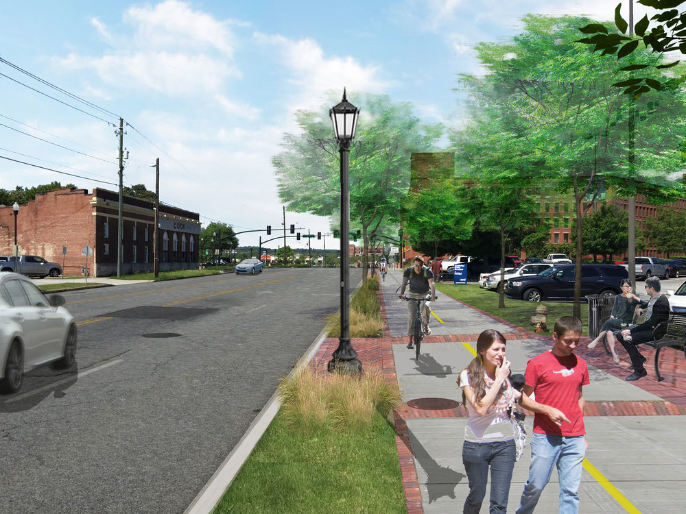 14th street side-path in rendering